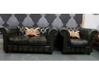 Stunning Refurbished Chesterfield 2 Seater Sofa & Club Chair Green Leather - UK Delivery