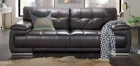 Bergamo - 2 Seater Leather Sofa - Verona Brown With Tan Contrast Stitching - very good condition