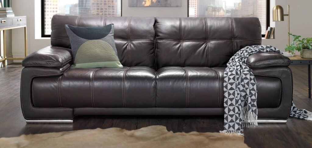 Bergamo 2 Seater Leather Sofa Verona Brown With Tan Contrast Sching Very Good