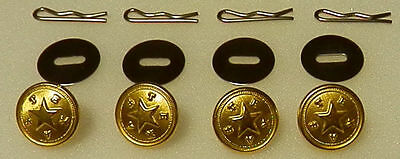 Set of 4 State of TEXAS Gold Uniform Buttons Small Pins/Washers police TX