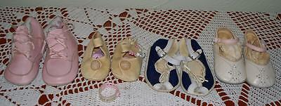 Vintage Baby Shoes Leather Fabric Mixed Lot Dolls Clothes Great Condition