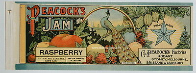 Peacock S Vintage Raspberry Jam Can Label    An Original 1890 S Tin Can Label