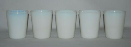 """Vintage Set of 5 White Opalescent 3.5"""" Tall Milk Glass Juice Glasses/Tumblers"""
