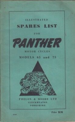 PANTHER MODEL 65 & MODEL 75 ORIGINAL 1950 FACTORY ILLUSTRATED SPARE PARTS LIST