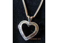 Diamond heart shaped neclace