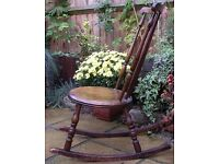 Chairs. Vintage Spindle Back Chair. Oak Wood. Rocking Chair. Living Room, Bedroom