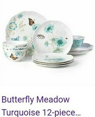 Lenox Butterfly Meadow Turquoise-12 piece set-serves 4-New in box