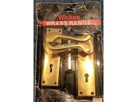 Door Handle on Polished Brass Plates (one pair)