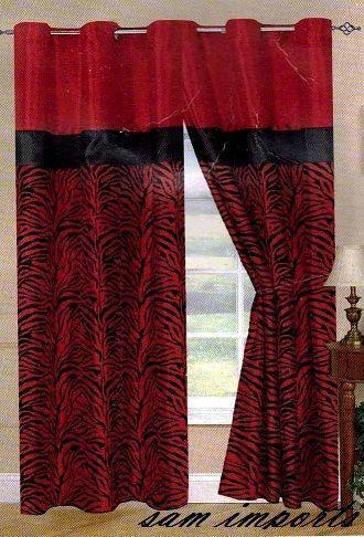Red Black Curtains Ebay