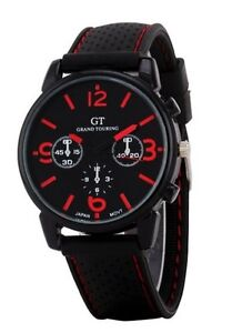 New watch, sporty style, cheap, good gift (red/black)