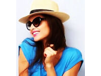 Ladies New Natural Coloured Stylish Fedora Hat with Black Ribbon.One Size Fits All.