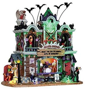 Lemax Spooky Town Heebie-Jeebie's Rock Club with Adaptor