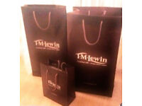 3 New Assorted Sizes Plum-Burgundy Coloured T M Lewin Gift Bags.