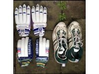2 PAIR OF SLAZENGER CRICKET GLOVES AND CRICKET BOOTS. £5
