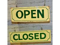 Pair Open & Closed wooden shop dispay sign decor mancave old wood enamel vintage antique industrial