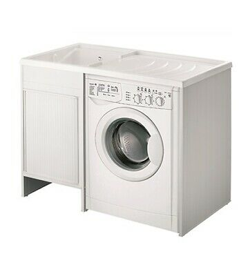 Mobile coprilavatrice con lavatoio lavapanni cm.109x60,vasca sinistra,serrandina