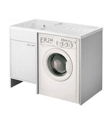 Mobile coprilavatrice con lavatoio lavapanni cm.109x60, vasca a sinistra, 1 anta