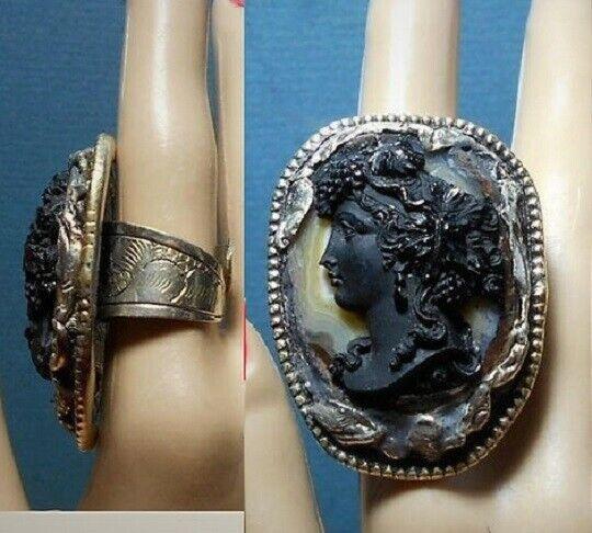 "SALE Black Bacchante Cameo RING Huge Nearly 2 "" Tibetan Silver Repousse Adjustab"