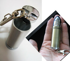 Bullet-Shape-mini-Portable-Ashtray-silver-color-Key-holder-bronze-color-keychain