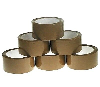 12 Pack of Brown Parcel Packing Selotape Tape 48mm x 66m Rolls Wide Strong New