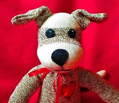 Sock Monkey Puppy Dog Fido the Faithful - Child Safe Felt Eyes Handmade (Puppy Monkey)