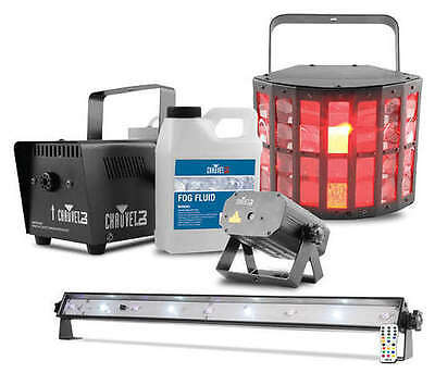 Chauvet Jam Pack Gold Mobile DJ Disco Lighting & Smoke Kit Halloween Package