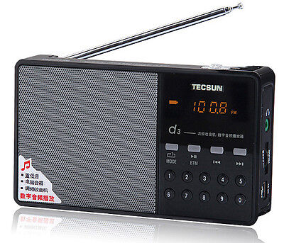 New Tecsun D3 Portable Rechargeable FM Radio with Micro SD T