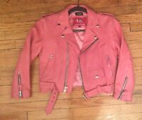 Vintage Pink Leather Motorcycle Punk Coat Jacket