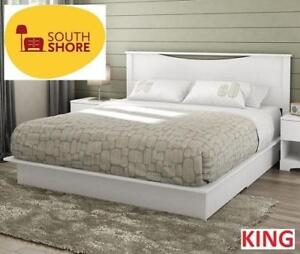 NEW* SOUTH SHORE KING PLATFORM BED 3160237 201201693 MAJESTIC PURE WHITE 2 DRAWER