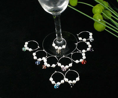 10 Mixed Acrylic Pearl Wine Glass Charms ...
