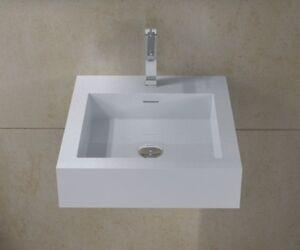 Wall hung solid surface stone modern mounted bathroom sink - Discount bathroom vanities los angeles ...