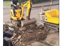BMS Landscaping & Paving Groundworks Man and machine Mini Micro digger dumper hire Watford Bushey
