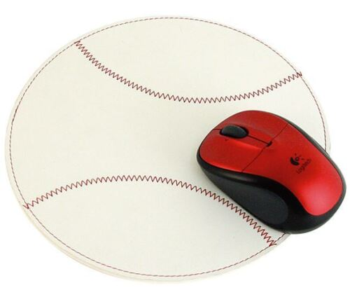 (New) Lot of 25 Leather Baseball Mouse Pads White