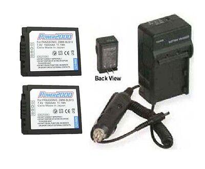 Two 2 Dmwblb13 Batteries + Charger For Panasonic Dmc-gf1k-k Dmc-gh1 Dmc-gh1k