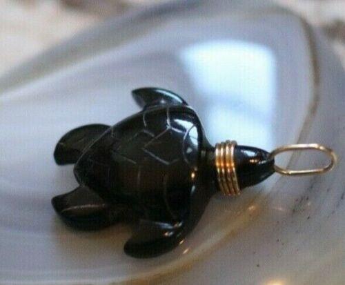 Vintage BERNARD K PASSMAN Black Coral sea turtle RARE 14k gold signed pendant