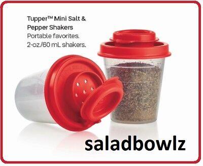 TUPPERWARE New TUPPER MINI SALT & PEPPER SHAKERS Pair POPPY Red Shaker Midgets