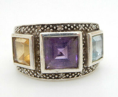 Sterling Silver/925 Multi-Color Gemstone & .07cttw Diamond Cocktail Ring Sz 5