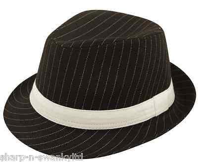 Damen Herren Erwachsene Gangster Bugsy Malone Nadelstreifen Filzhut Kostüm - Bugsy Malone Kostüm