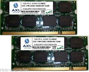 2GB KIT PC2-4200 DDR2 SODIMM 533MHZ 200-PIN 2x 1GB MEMORY RAM