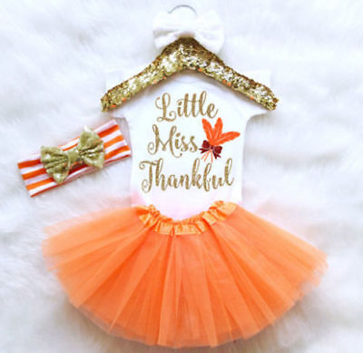 Newborn Infant Baby Girl Thanksgiving Romper Fancy Tutu Dress Outfit Clothes](Girl Thanksgiving Outfits)