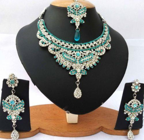 4056 Indian Bridal Jewelry Bollywood New Necklace Ethnic: Indian Bridal Jewelry Silver