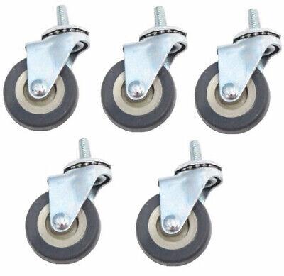 Swivel Stem Caster 2x78 Rubber Wheel 516 Threaded Gray325 Cap Pack Of 5