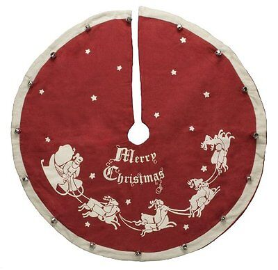 "Vintage-Style Jingle Bell CHRISTMAS TREE SKIRT, 24"", Primitives by Kathy"