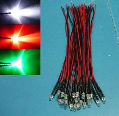 (30 PCS) 3mm FLASHING Mixed Colour Pre Wired LED 9v DC 12V Bulb Red White Green