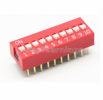 5pcs Slide Type Switch Module 2.54mm 10-bit 10 Position Way Dip Red Pitch