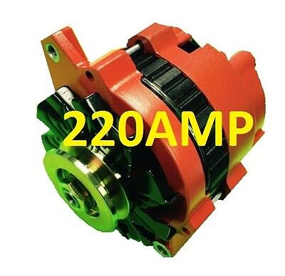 NEW ORANGE  HIGH OUTPUT ALTERNATOR FIT GM 65-85 1-WIRE ONE WIRE 220 AMP Gm High Output Alternator