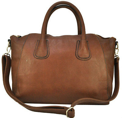New Designer Large Womens Leather Style Tote Shoulder Bag Handbag Ladies Brown
