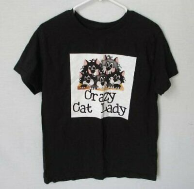 Crazy Cat Lady Shorts (Crazy Cat Lady black 100% cotton short sleeve tee crew neck top *Sz L*)