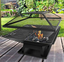 Square Garden Fire Pit BBQ Grill