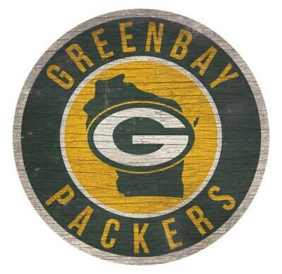 Green Bay Packers Circle w/ State Football Wood Sign 12
